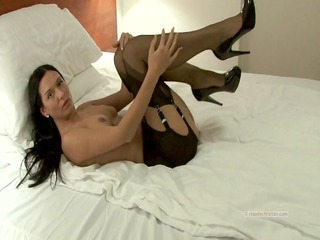gal in vintage stockings garter thong has rock